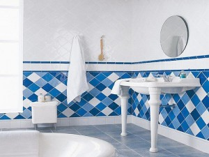 A blue and white bathroom