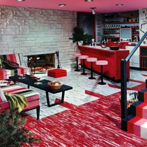 Colour red stylized basement